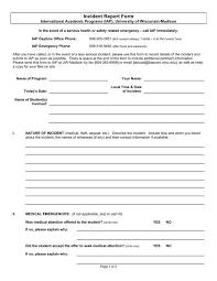 Incident Report Form Uw Study Abroad University Of