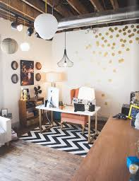 beautiful alluring home office. Feminine Home Office With Exposed Beams #polkadots #chevron #lanterns Beautiful Alluring P