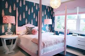girls bedroom ideas blue. Bedroom, Girly Bedroom Ideas Blue Wall Decor With White Tree Pattern And Pink Curtain Sheet Bed Cover Pillow Black Pi. Girls