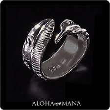 hawaiian jewelry ring maxi cut out feather ring 9 mm silver925 black gold polish mxri0368bp