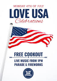 4th Of July Template With Stars Stripes Love Heart Graphic Easil