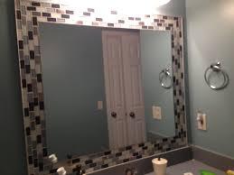 bathroom mirror frame tile. Delighful Tile Glass Tiles Around Mirror Jazzes Up Any Bathroom So Easy To Bathroom Mirror Frame Tile O
