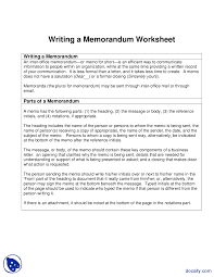 Writing A Memorandum Report Writing Skills Lecture Handout Docsity