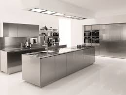 deluxe stainless steel island gray cabinets integral sink floating shelves