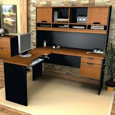 coaster shape home office computer desk. Amazing Large Surface L Shaped Desk With Hutch In Black And Brown Color Plus Computer On Coaster Shape Home Office