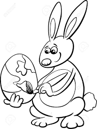 black and white cartoon ilration of easter bunny painting paschal egg for coloring book stock vector