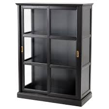 MALSJ glass-door cabinet, black stained black stained Width: 40 1/2
