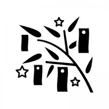 七夕飾りのシルエット 無料のaipng白黒シルエットイラスト