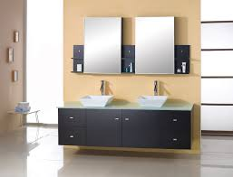 double sink bathroom mirrors. Double Sink Floating Bathroom Vanity With Two Frameless Mirrors And Shelves Also Small Table: I