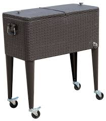 80 qt rolling ice chest portable patio cooler cart brown wicker pattern tropical coolers and ice chests by aosom