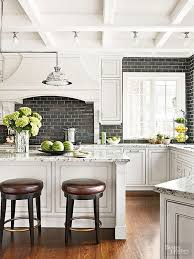 white kitchen backsplash ideas. Wonderful Backsplash White Kitchen With A Black Subway Tile Backsplash Intended Ideas
