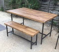 industrial style outdoor furniture. Industrial Style Table And Bench Set (TABLE AND 2 BENCHES ONLY): Amazon.co.uk: Kitchen \u0026 Home Outdoor Furniture