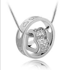 crystal heart and ring pendant necklace