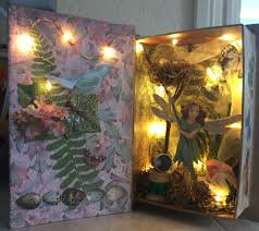 Paper Mache String Lights Fairy Diorama With Lights Lightbox Art Box Art Decor Crafts