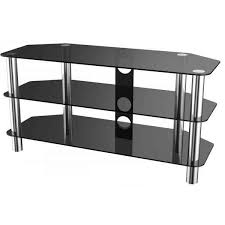 stealth mounts 1000mm black glass and chrome tv stand for tvs up to 50