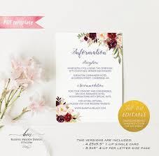 Vistaprint Wedding Seating Chart Printable Burgundy Floral Information Card All Text Editable Pdf Template Wedding Details Card Vistaprint Diy Instant Download 01 11