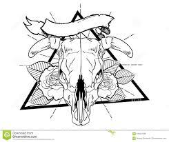 косточки быка с эскизом винтажной нео традиционной татуировки цветка