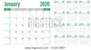 Planner 2020 Template Calendar Planner 2020 Vector Photo Free Trial Bigstock