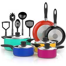 colorful kitchen utensils. Delighful Kitchen 15 Piece Nonstick Cookware Set  Colored Kitchen Pots And Pans  With Cooking Utensils New Walmartcom And Colorful