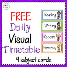 Daily Time Table Daily Timetable Visual Schedule Cards Free