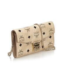 Mcm Designer Stand For Mcm White Visetos Coated Canvas Patricia Wallet On Chain