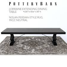 pottery barn lorraine dining table nolan persian style rug 3d model