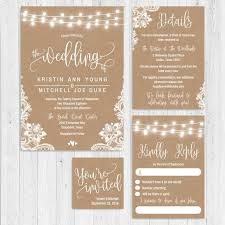 Online Wedding Invite Template Kraft Lace Lights And Hearts Wedding Invite Suite Online Wedding