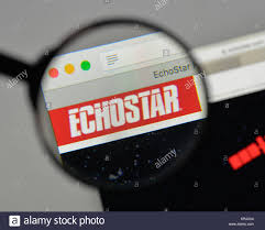 milan italy august 10 2018 echostar logo on the homepage