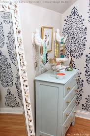 walk in closet makeover via simple stylings persian garden damask stencil by royal design