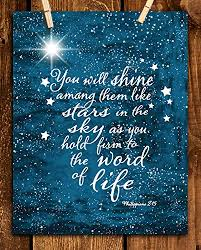 "Amazon.com: ""You Will Shine Like Stars in the Sky""- Philippians 2:15- Bible Verse Wall Art- 8 x 10"" Starry Typographic Design. Scripture Wall Print-Ready to Frame. Home-Office-Church Décor. Great Christian Gift!: Handmade"