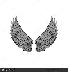 Krásné Heraldický Křídla S šedé Peří Ptáka Nebo Anděl Tetování