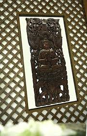 buddha large wood wall art carved wood wall panel in dark brown home wood art wood carved decorative