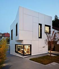 Minimalist Modern Exterior Walls Design With Wide Glasses Windows - Exterior walls