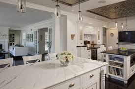 kitchen countertops quartz. White Quartz Marble Look Alike Mid Century Modern Kitchen Countertops With Counters And Island Multiple Lantern Pendant Lamps