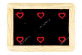 wooden frame vintage chalkboard isolated on white with six red heart shape symbols love concept