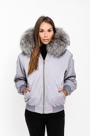 grey fox fur collar er jacket silver fox zoom