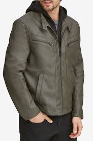 andrew marc corbett removable knit hood faux leather jacket nordstrom rack