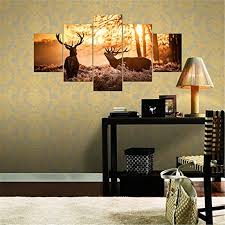 home office artwork. Nature Elk Landscape 5 Panels Wall Art Canvas Paintings Decorations For Home Office Artwork Giclee Decor-in Painting \u0026 Calligraphy