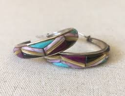 turquoise inlay hoop earrings vintage southwest native american zuni sterling silver hoops