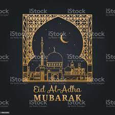 Eid Aladha Mubarak Kalligraphische Inschrift Übersetzt Ins Englische Als  Fest Der Sacrificehand Skizzierten Moschee Bogen Stock Vektor Art und mehr  Bilder von Arabeske - iStock