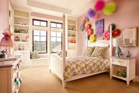 Charming pink kids bedroom design decorating ideas Youngsters Favourite Amusing Kids Bedroom Design For Girls Displaying Charming Decorative Wall Decor And White Lacquer Wooden Canopy Brasswindow Cute Teenage Girls Bedroom Decorating Ideas