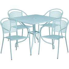 35 5 square sky blue indoor outdoor steel patio table set with 4 round back