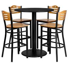 36 round black laminate table set with 4 wood slat back metal barstools natural wood seat