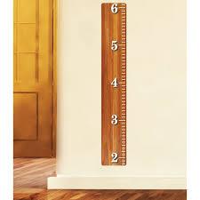 Oak Wood Ruler Height Chart Wall Decal