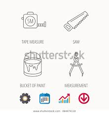 Tape Measure Saw Bucket Paint Icons Stock Vector Royalty