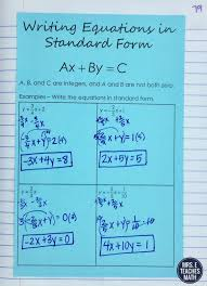 writing equations of lines in standard form interactive notebook page