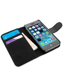 snugg leather flip wallet case for apple iphone 5 5s black