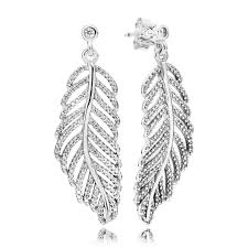 pandora shimmering feathers earrings sterling silver and diamond effect swag uk jewellers