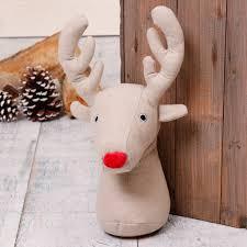 Rudolf The Reindeer Head Fabric Door Stop - door stops