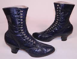 victorian women s navy blue leather high top on boots this pair of antique victorian era women s